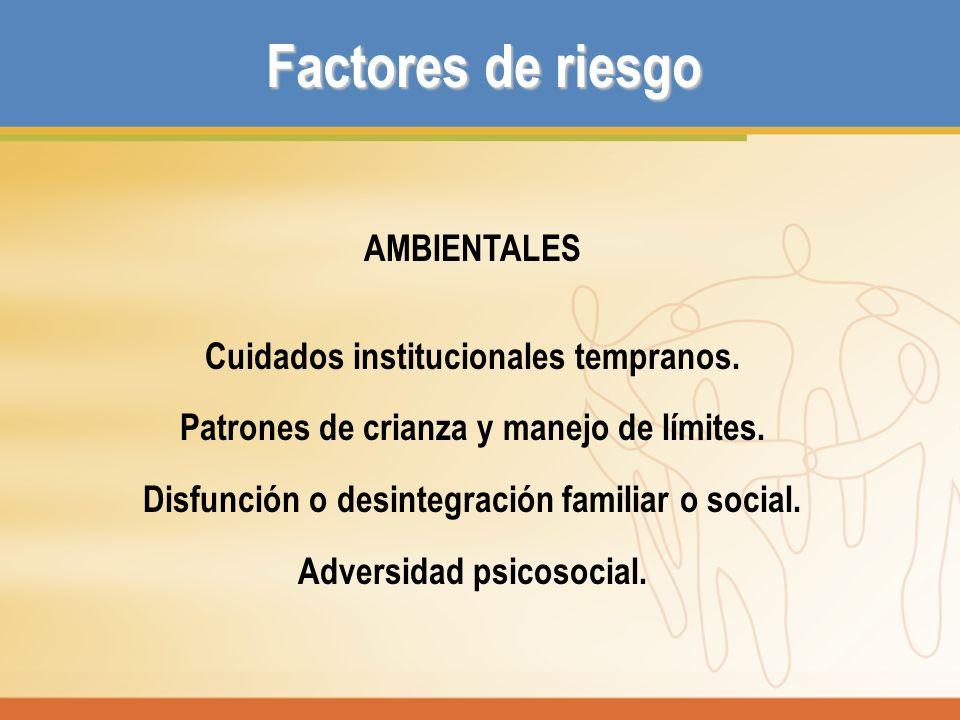 Factores de riesgo AMBIENTALES Cuidados institucionales tempranos. Patrones de crianza y manejo de límites. Disfunción o desintegración familiar o soc