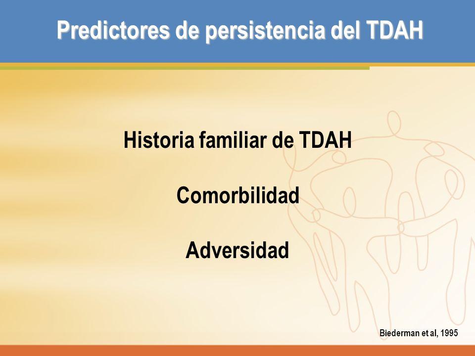 Predictores de persistencia del TDAH Historia familiar de TDAH Comorbilidad Adversidad Biederman et al, 1995