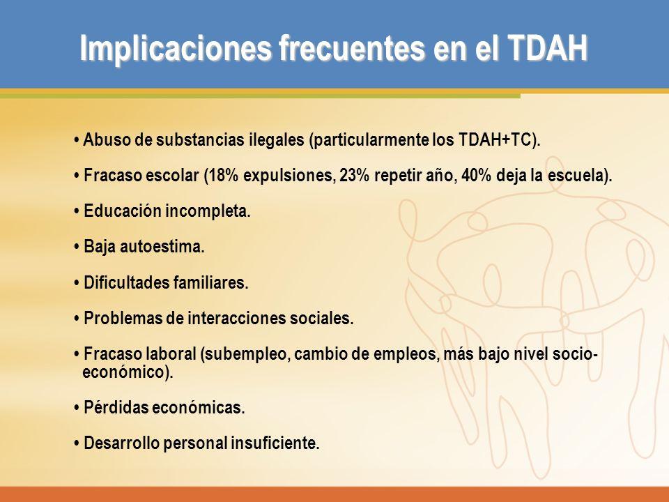 Implicaciones frecuentes en el TDAH Abuso de substancias ilegales (particularmente los TDAH+TC). Fracaso escolar (18% expulsiones, 23% repetir año, 40
