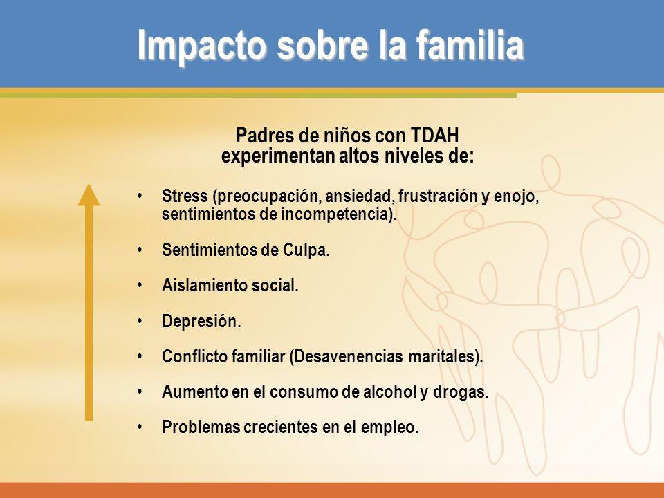 Impacto sobre la familia Padres de niños con TDAH experimentan altos niveles de: Stress (preocupación, ansiedad, frustración y enojo, sentimientos de
