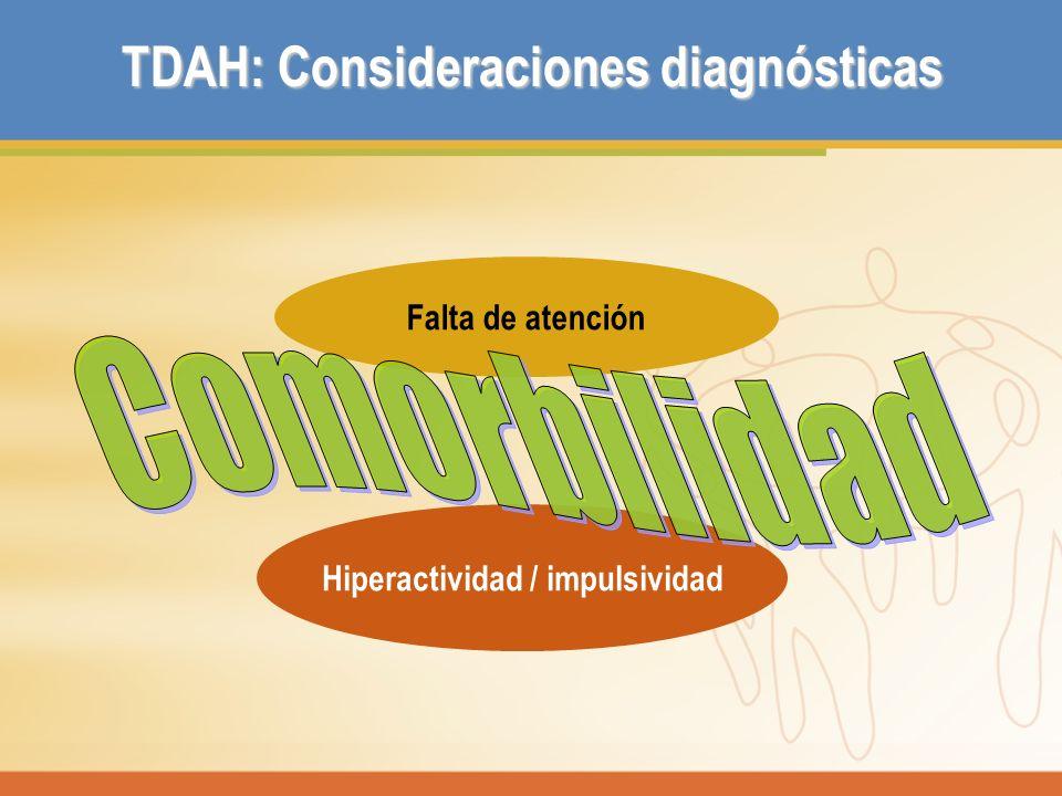 Hiperactividad / impulsividad TDAH: Consideraciones diagnósticas Falta de atención