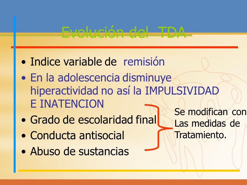 Evolución del TDA Indice variable de remisión En la adolescencia disminuye hiperactividad no así la IMPULSIVIDAD E INATENCION Grado de escolaridad fin