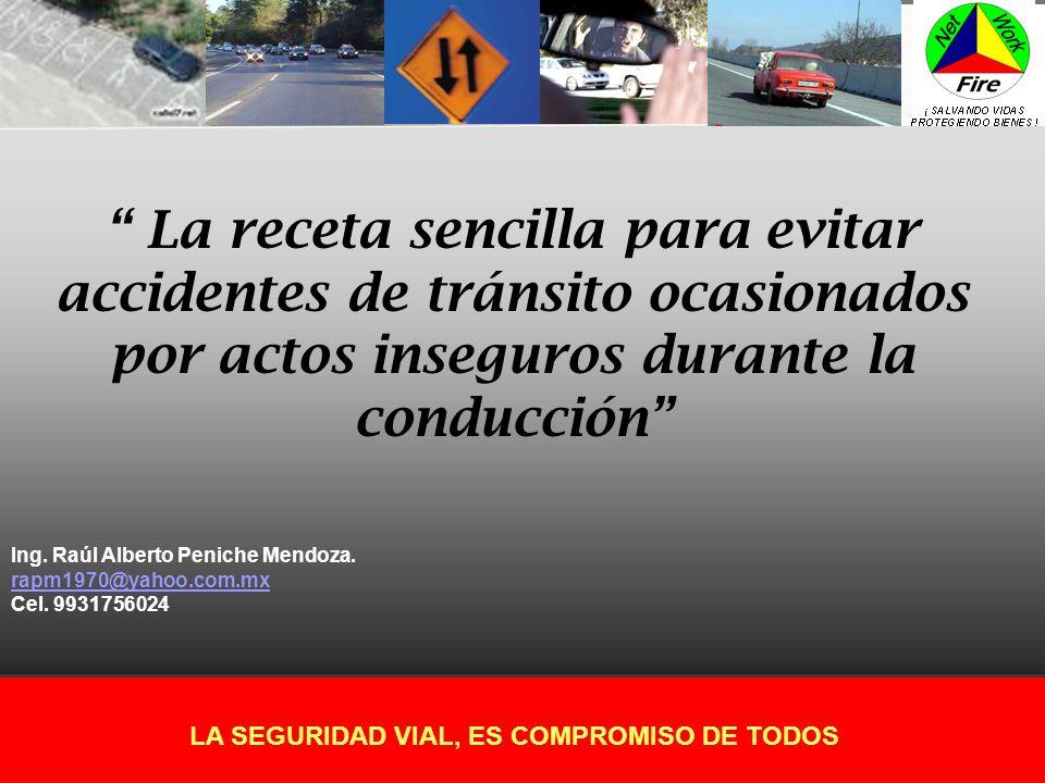 LA SEGURIDAD VIAL, ES COMPROMISO DE TODOS La receta sencilla para evitar accidentes de tránsito ocasionados por actos inseguros durante la conducción