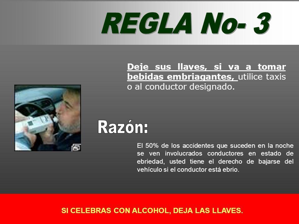 Deje sus llaves, si va a tomar bebidas embriagantes, utilice taxis o al conductor designado. El 50% de los accidentes que suceden en la noche se ven i