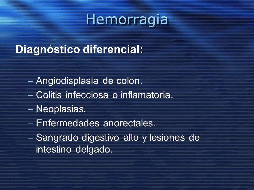 Hemorragia Diagnóstico diferencial: –Angiodisplasia de colon. –Colitis infecciosa o inflamatoria. –Neoplasias. –Enfermedades anorectales. –Sangrado di