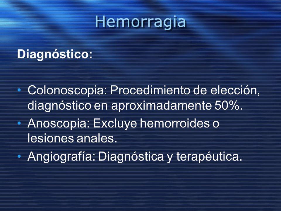 Hemorragia Diagnóstico: Colonoscopia: Procedimiento de elección, diagnóstico en aproximadamente 50%. Anoscopia: Excluye hemorroides o lesiones anales.