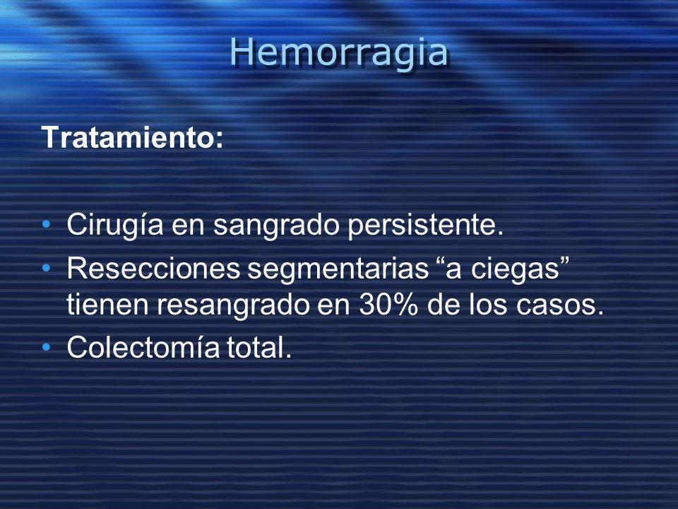 Hemorragia Tratamiento: Cirugía en sangrado persistente. Resecciones segmentarias a ciegas tienen resangrado en 30% de los casos. Colectomía total.