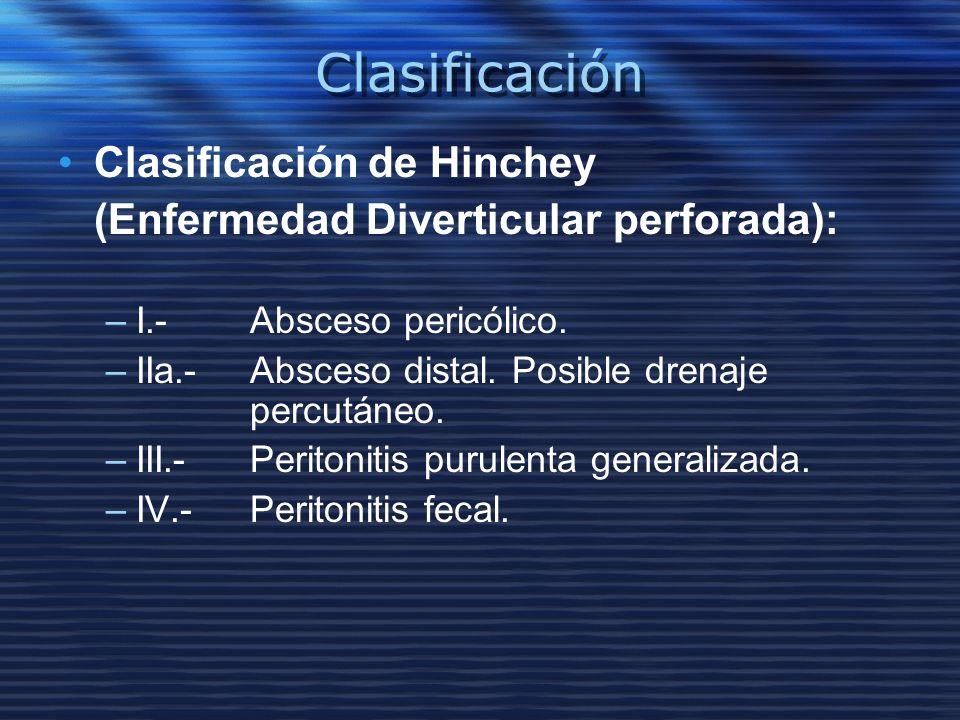 Clasificación Clasificación de Hinchey (Enfermedad Diverticular perforada): –I.- Absceso pericólico. –IIa.-Absceso distal. Posible drenaje percutáneo.