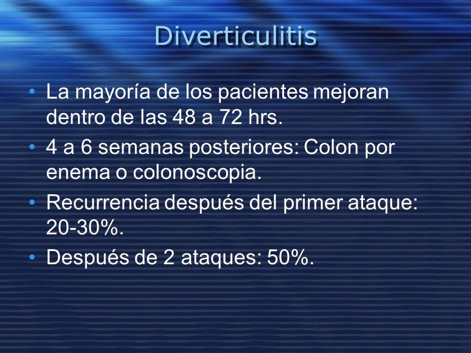 Diverticulitis La mayoría de los pacientes mejoran dentro de las 48 a 72 hrs. 4 a 6 semanas posteriores: Colon por enema o colonoscopia. Recurrencia d