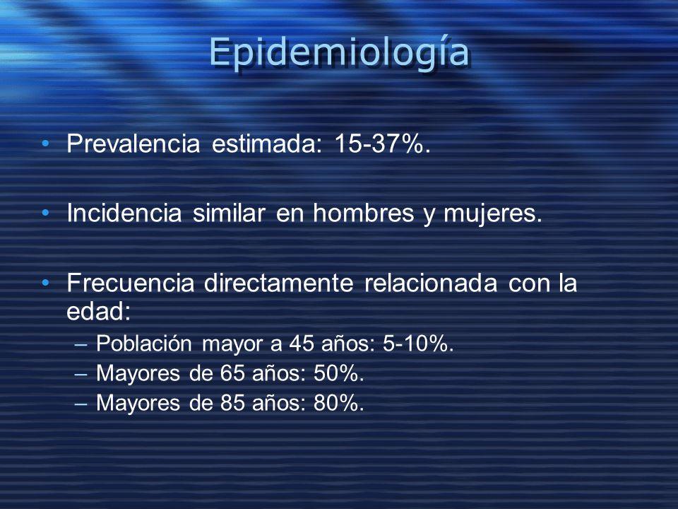 Epidemiología Prevalencia estimada: 15-37%. Incidencia similar en hombres y mujeres. Frecuencia directamente relacionada con la edad: –Población mayor