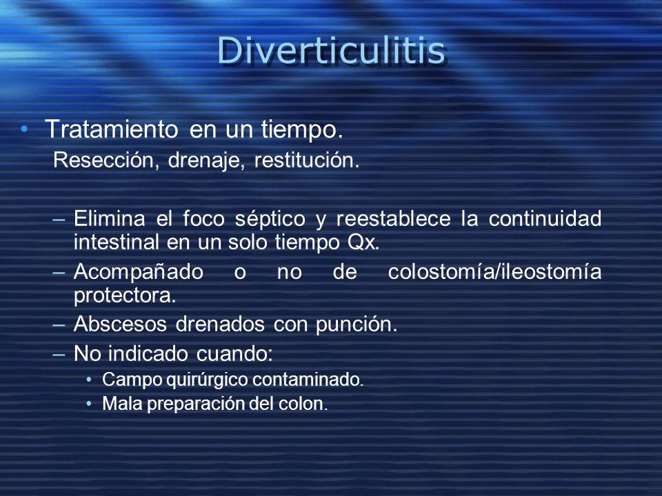 Diverticulitis Tratamiento en un tiempo. Resección, drenaje, restitución. –Elimina el foco séptico y reestablece la continuidad intestinal en un solo