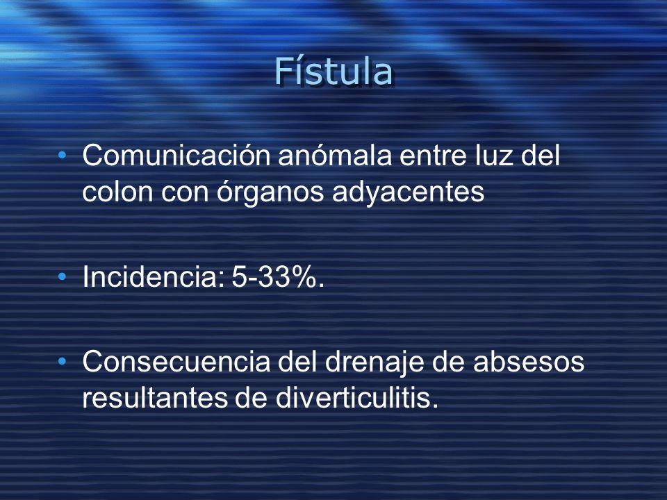 Fístula Comunicación anómala entre luz del colon con órganos adyacentes Incidencia: 5-33%. Consecuencia del drenaje de absesos resultantes de divertic