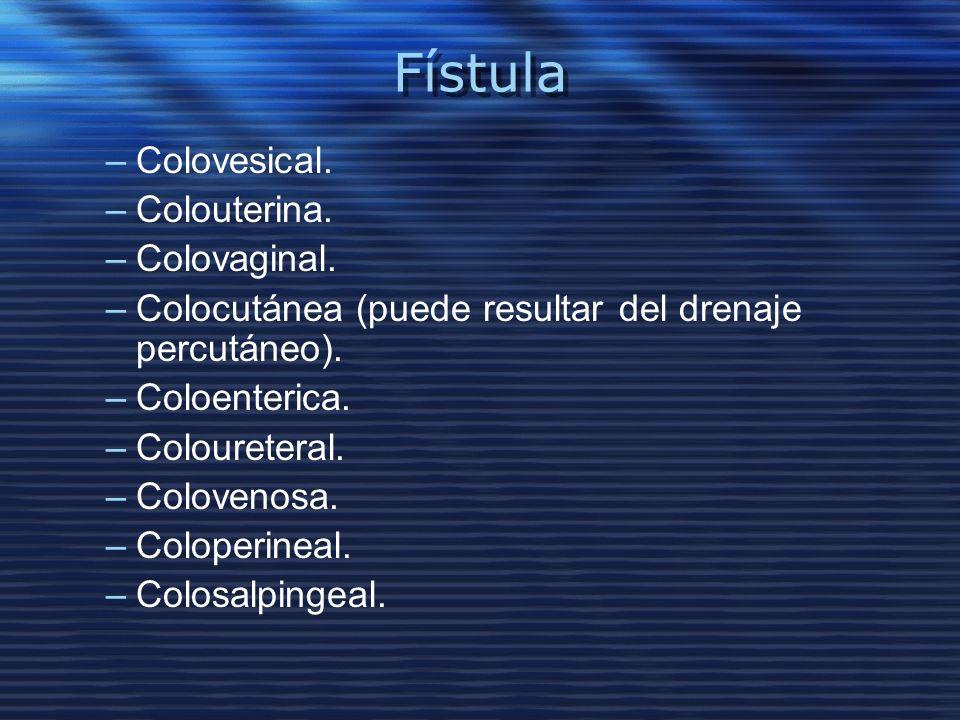 Fístula –Colovesical. –Colouterina. –Colovaginal. –Colocutánea (puede resultar del drenaje percutáneo). –Coloenterica. –Coloureteral. –Colovenosa. –Co