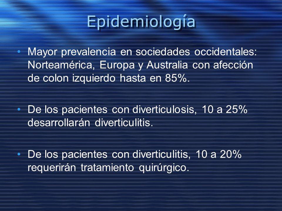 Epidemiología Mayor prevalencia en sociedades occidentales: Norteamérica, Europa y Australia con afección de colon izquierdo hasta en 85%. De los paci