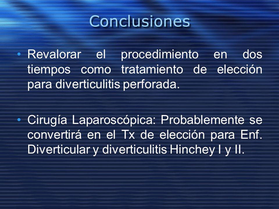 Conclusiones Revalorar el procedimiento en dos tiempos como tratamiento de elección para diverticulitis perforada. Cirugía Laparoscópica: Probablement