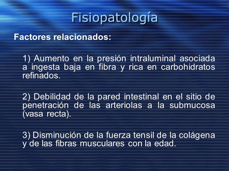 Fisiopatología Factores relacionados: 1) Aumento en la presión intraluminal asociada a ingesta baja en fibra y rica en carbohidratos refinados. 2) Deb