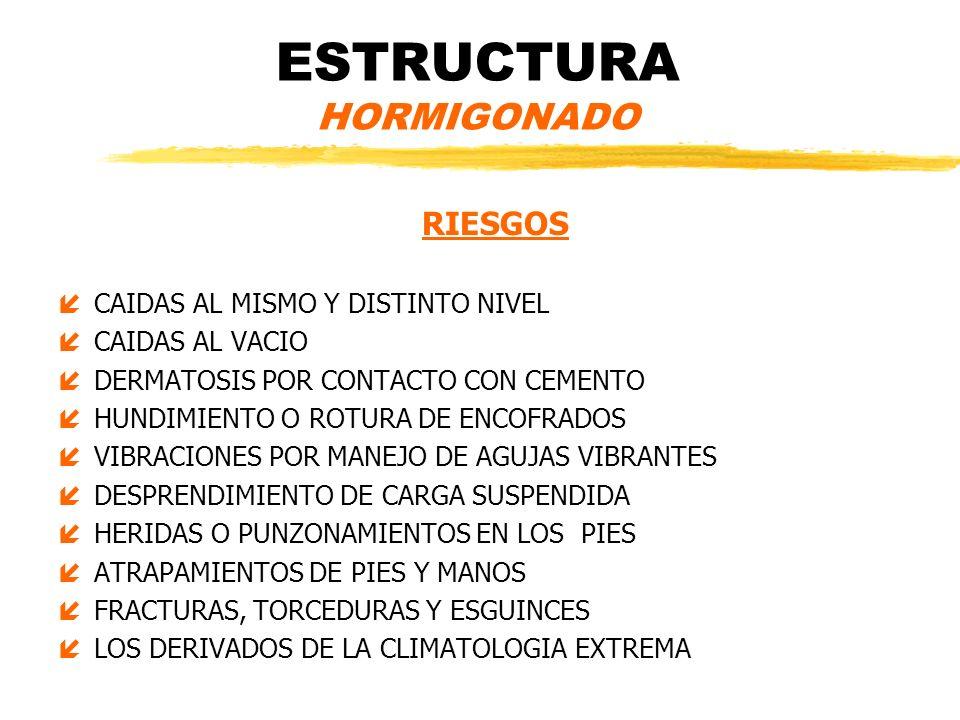 ESTRUCTURA HORMIGONADO RIESGOS íCAIDAS AL MISMO Y DISTINTO NIVEL íCAIDAS AL VACIO íDERMATOSIS POR CONTACTO CON CEMENTO íHUNDIMIENTO O ROTURA DE ENCOFR