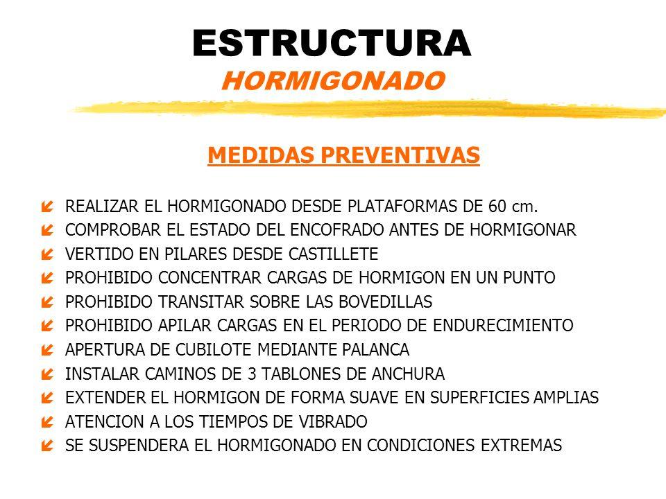 ESTRUCTURA HORMIGONADO MEDIDAS PREVENTIVAS íREALIZAR EL HORMIGONADO DESDE PLATAFORMAS DE 60 cm. íCOMPROBAR EL ESTADO DEL ENCOFRADO ANTES DE HORMIGONAR