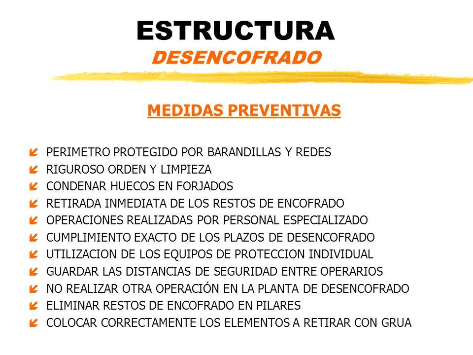 ESTRUCTURA DESENCOFRADO MEDIDAS PREVENTIVAS íPERIMETRO PROTEGIDO POR BARANDILLAS Y REDES íRIGUROSO ORDEN Y LIMPIEZA íCONDENAR HUECOS EN FORJADOS íRETI