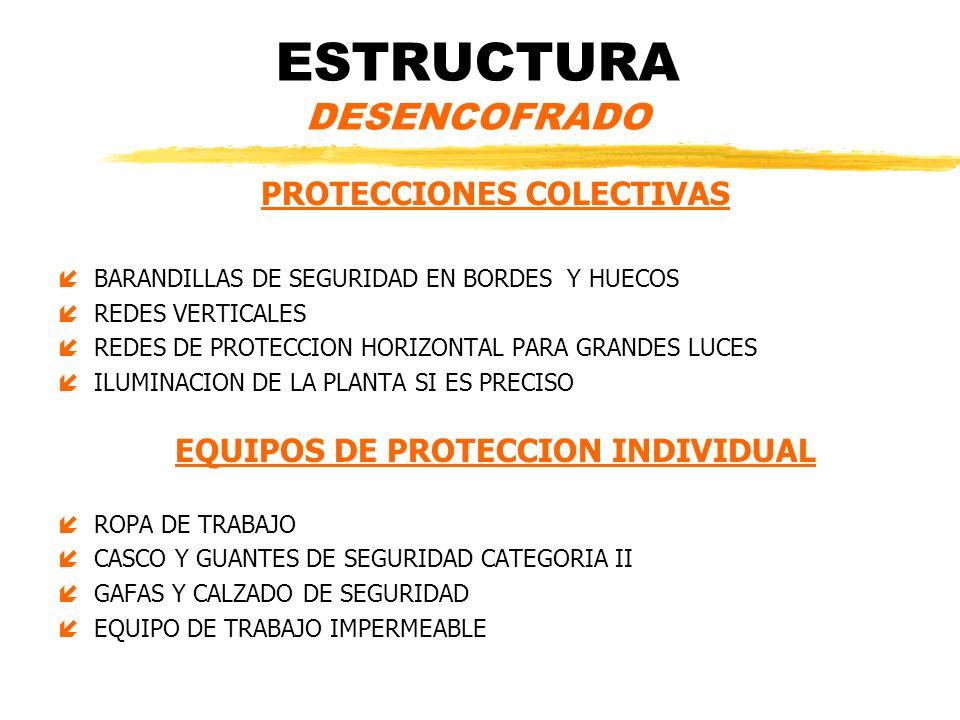 ESTRUCTURA DESENCOFRADO PROTECCIONES COLECTIVAS íBARANDILLAS DE SEGURIDAD EN BORDES Y HUECOS íREDES VERTICALES íREDES DE PROTECCION HORIZONTAL PARA GR