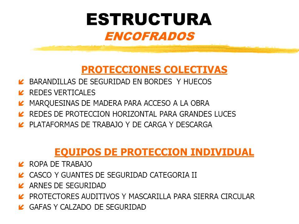 ESTRUCTURA ENCOFRADOS PROTECCIONES COLECTIVAS íBARANDILLAS DE SEGURIDAD EN BORDES Y HUECOS íREDES VERTICALES íMARQUESINAS DE MADERA PARA ACCESO A LA O