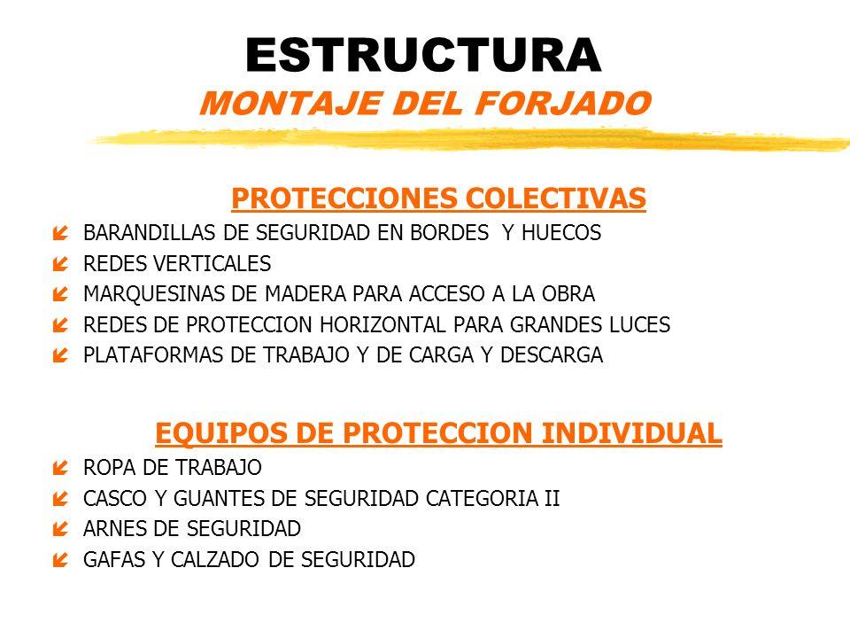 ESTRUCTURA MONTAJE DEL FORJADO PROTECCIONES COLECTIVAS íBARANDILLAS DE SEGURIDAD EN BORDES Y HUECOS íREDES VERTICALES íMARQUESINAS DE MADERA PARA ACCE