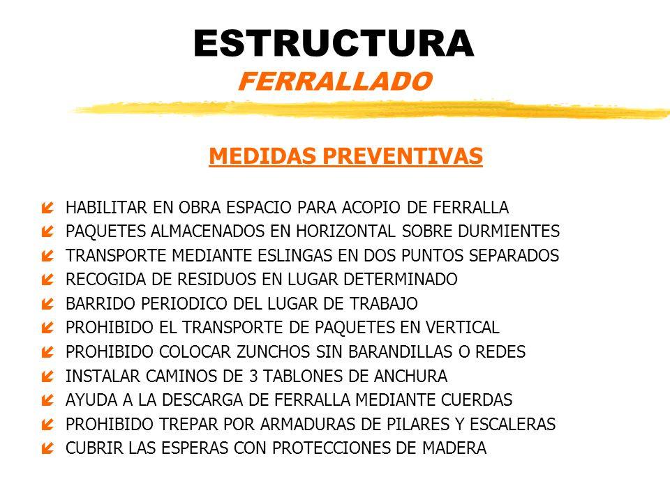 ESTRUCTURA FERRALLADO PROTECCIONES COLECTIVAS íBARANDILLAS DE SEGURIDAD EN BORDES Y HUECOS íREDES VERTICALES íMARQUESINAS DE MADERA PARA ACCESO A LA OBRA íREDES DE PROTECCION HORIZONTAL PARA GRANDES LUCES íPLATAFORMAS DE TRABAJO Y DE CARGA Y DESCARGA íPASARELAS DE MADERA DE 3 TABLONES EQUIPOS DE PROTECCION INDIVIDUAL íROPA DE TRABAJO íCASCO Y GUANTES DE SEGURIDAD CATEGORIA II íARNES DE SEGURIDAD íGAFAS Y CALZADO DE SEGURIDAD