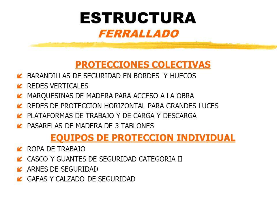 ESTRUCTURA FERRALLADO PROTECCIONES COLECTIVAS íBARANDILLAS DE SEGURIDAD EN BORDES Y HUECOS íREDES VERTICALES íMARQUESINAS DE MADERA PARA ACCESO A LA O