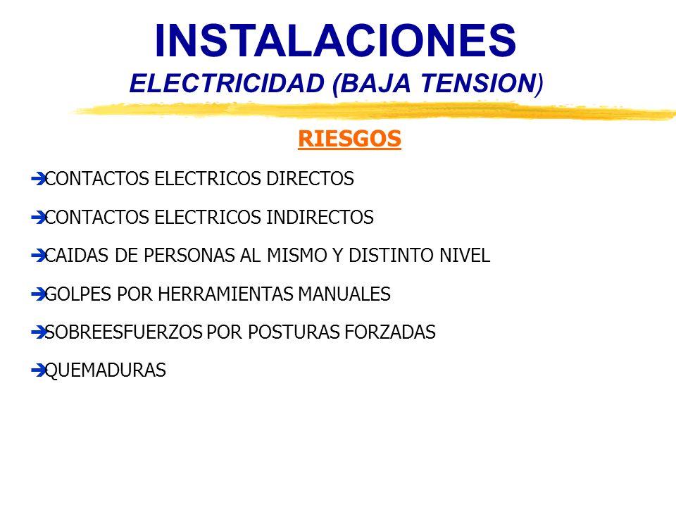 INSTALACIONES ELECTRICIDAD (BAJA TENSION) RIESGOS CONTACTOS ELECTRICOS DIRECTOS CONTACTOS ELECTRICOS INDIRECTOS CAIDAS DE PERSONAS AL MISMO Y DISTINTO