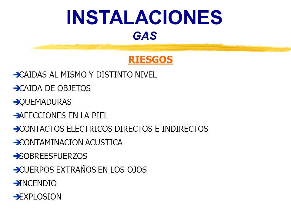 INSTALACIONES GAS RIESGOS CAIDAS AL MISMO Y DISTINTO NIVEL CAIDA DE OBJETOS QUEMADURAS AFECCIONES EN LA PIEL CONTACTOS ELECTRICOS DIRECTOS E INDIRECTO