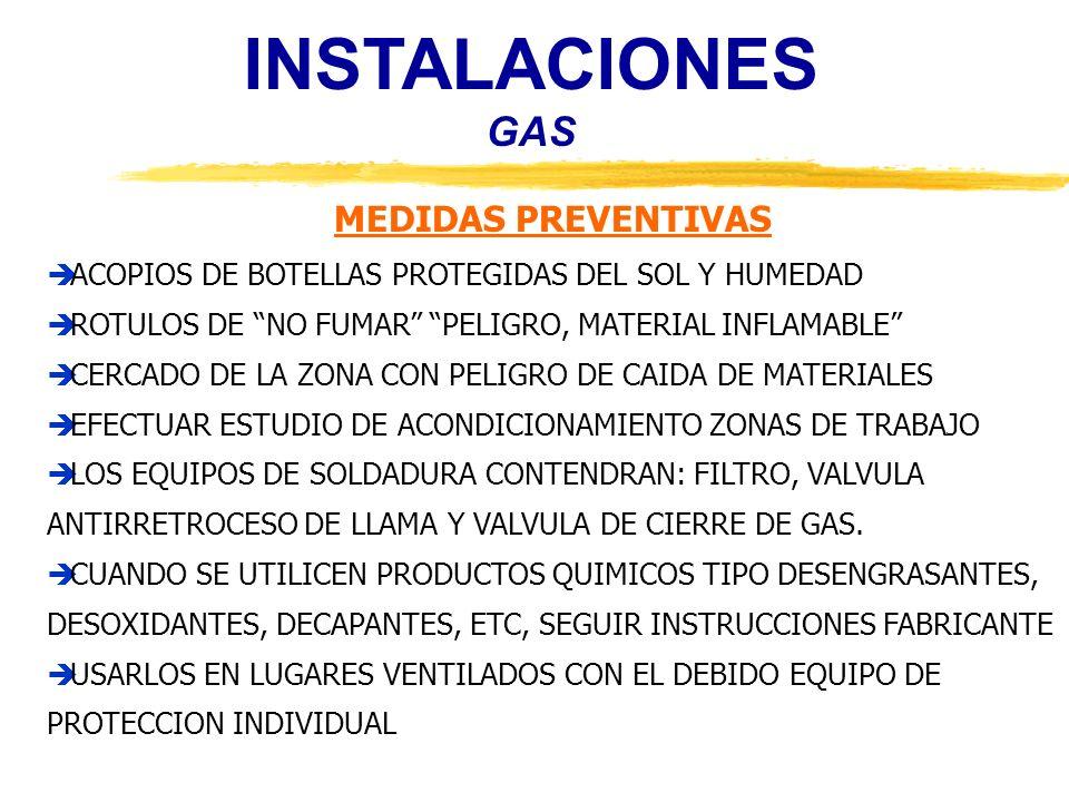 INSTALACIONES GAS MEDIDAS PREVENTIVAS ACOPIOS DE BOTELLAS PROTEGIDAS DEL SOL Y HUMEDAD ROTULOS DE NO FUMAR PELIGRO, MATERIAL INFLAMABLE CERCADO DE LA
