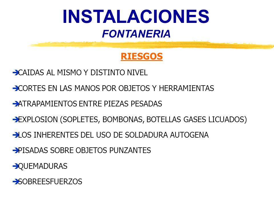 INSTALACIONES FONTANERIA MEDIDAS PREVENTIVAS (1) ALMACEN DOTADO DE PUERTA Y CERROJO NO UTILIZAR LOS FLEJES COMO ASIDEROS DE CARGA LOS BLOQUES DE APARATOS SANITARIOS SE TRANSPORTARAN A SU LUGAR DE INSTALACION, UNA VEZ IZADOS A LAS PLANTAS TRANSPORTE DE TUBERIAS INCLINANDO LA CARGA HACIA ATRÁS BANCOS DE TRABAJO EN BUENAS CONDICIONES DE USO REPONER PROTECCIONES DE HUECOS EN FORJADOS RODEAR CON BARANDILLAS AQUELLOS HUECOS QUE NO SE CUBRAN ORDEN Y LIMPIEZA EN LOS LUGARES DE TRABAJO PROHIBIDO SOLDAR CON PLOMO EN LUGARES CERRADOS