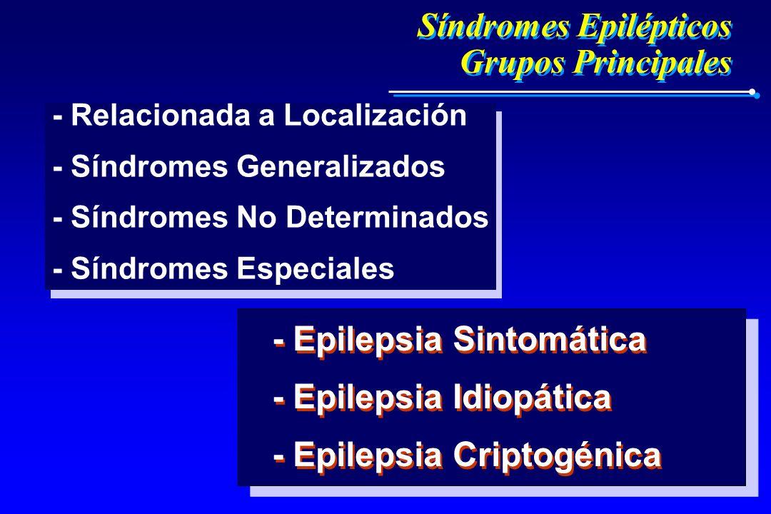 Síndromes Epilépticos Grupos Principales Síndromes Epilépticos Grupos Principales - Epilepsia Sintomática - Epilepsia Idiopática - Epilepsia Criptogén
