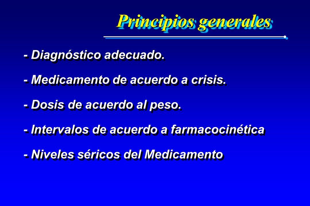 Principios generales - Diagnóstico adecuado. - Medicamento de acuerdo a crisis. - Dosis de acuerdo al peso. - Intervalos de acuerdo a farmacocinética