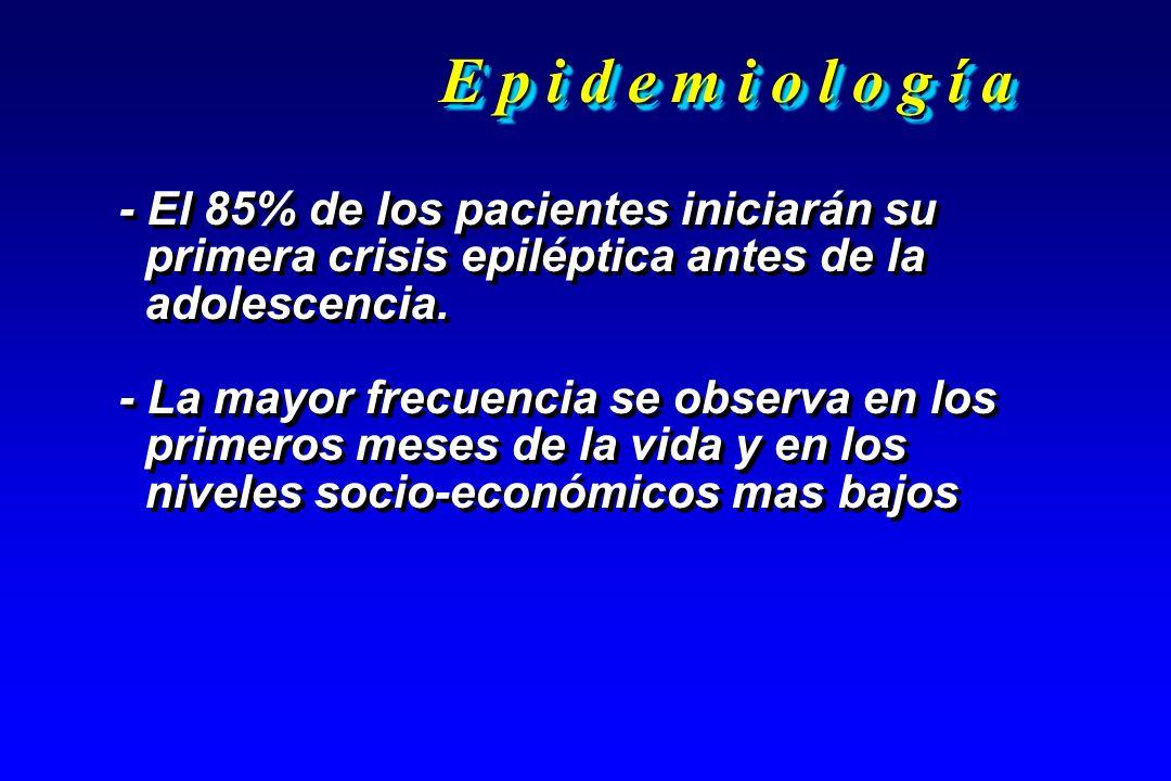 E p i d e m i o l o g í a - El 85% de los pacientes iniciarán su primera crisis epiléptica antes de la adolescencia. - La mayor frecuencia se observa