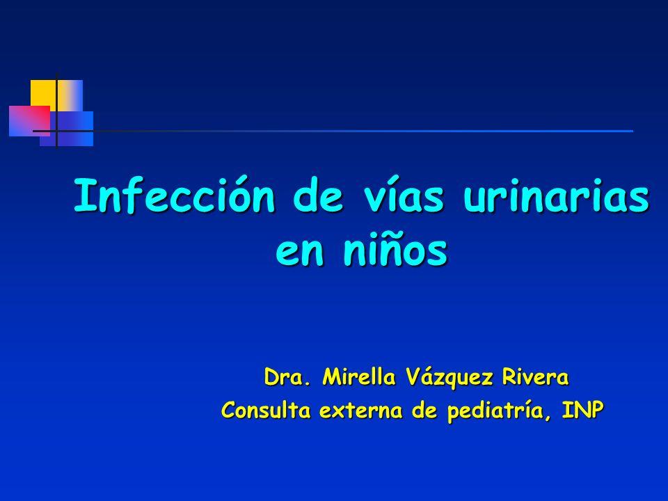 Infección de vías urinarias en niños Dra. Mirella Vázquez Rivera Consulta externa de pediatría, INP Consulta externa de pediatría, INP