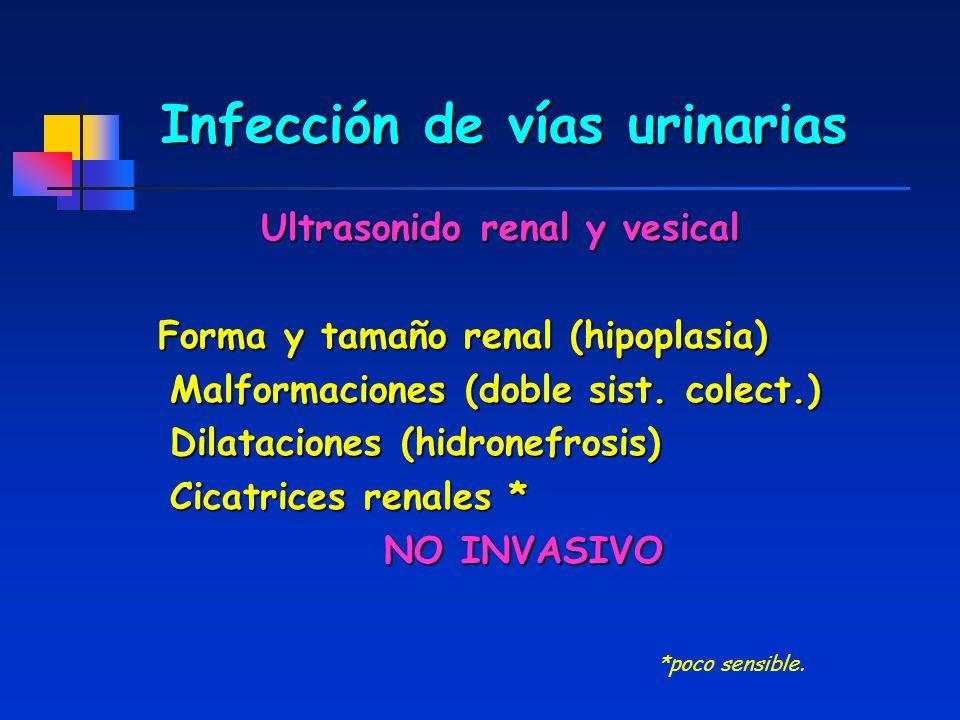 Infección de vías urinarias Ultrasonido renal y vesical Forma y tamaño renal (hipoplasia) Malformaciones (doble sist. colect.) Malformaciones (doble s