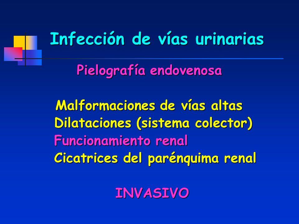 Infección de vías urinarias Pielografía endovenosa Malformaciones de vías altas Dilataciones (sistema colector) Dilataciones (sistema colector) Funcio