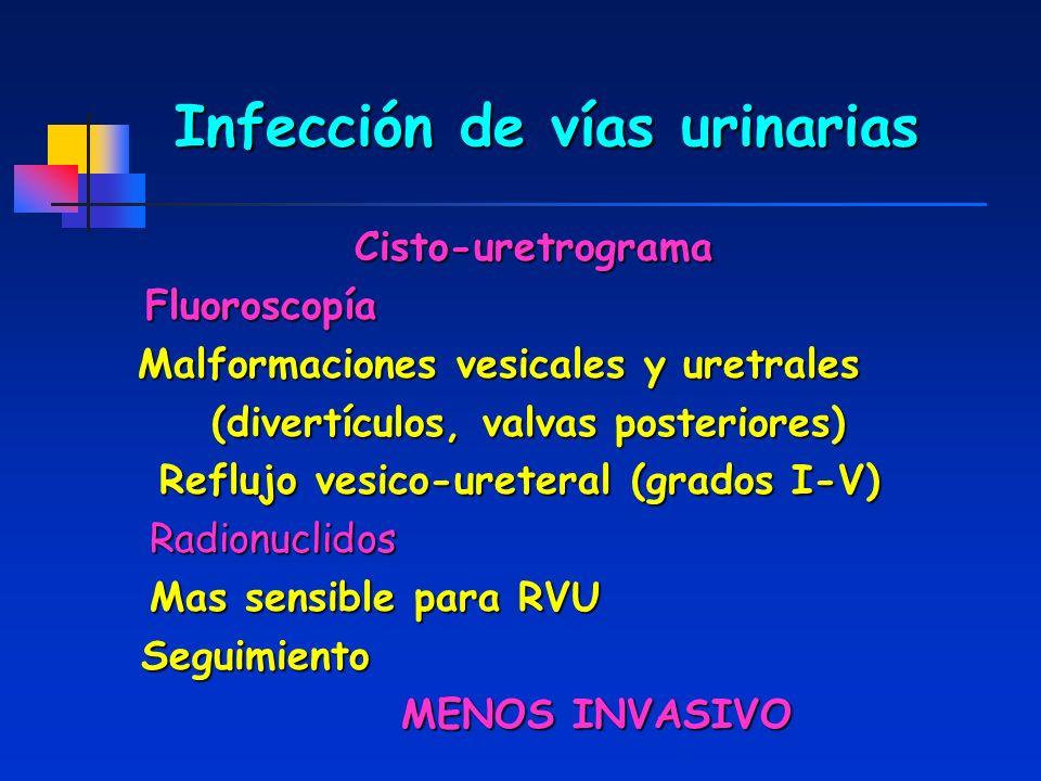 Infección de vías urinarias Cisto-uretrograma Fluoroscopía Fluoroscopía Malformaciones vesicales y uretrales (divertículos, valvas posteriores) (diver
