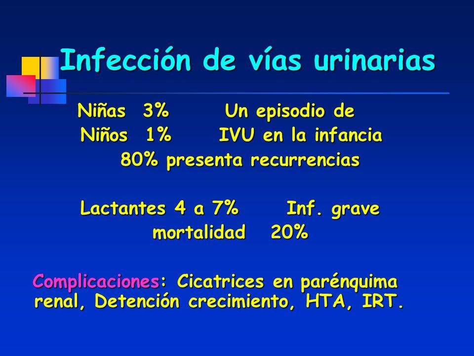 Infección de vías urinarias Niñas 3% Un episodio de Niños 1% IVU en la infancia Niños 1% IVU en la infancia 80% presenta recurrencias 80% presenta rec