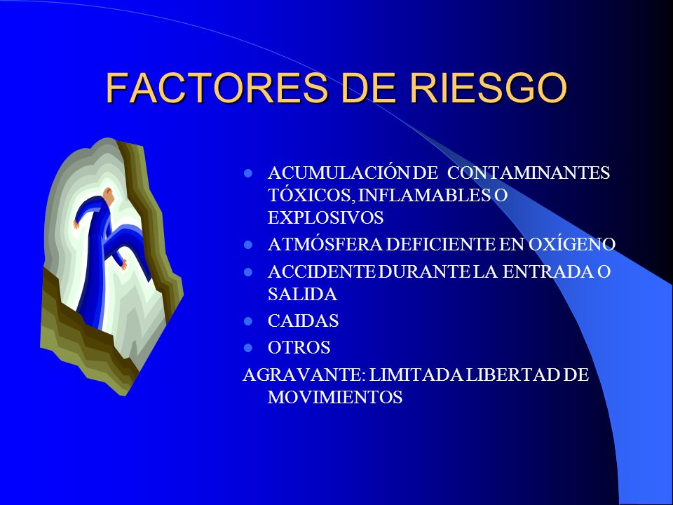 FACTORES DE RIESGO ACUMULACIÓN DE CONTAMINANTES TÓXICOS, INFLAMABLES O EXPLOSIVOS ATMÓSFERA DEFICIENTE EN OXÍGENO ACCIDENTE DURANTE LA ENTRADA O SALID