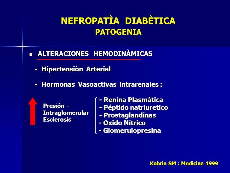 NEFROPATÌA DIABÈTICA PATOGENIA NEFROPATÌA DIABÈTICA PATOGENIA ALTERACIONES HEMODINÀMICAS ALTERACIONES HEMODINÀMICAS - Hipertensiòn Arterial - Hiperten