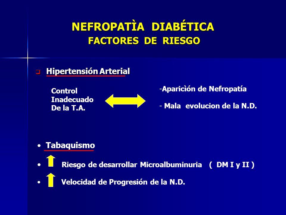NEFROPATÌA DIABÉTICA FACTORES DE RIESGO NEFROPATÌA DIABÉTICA FACTORES DE RIESGO Hipertensión Arterial Hipertensión Arterial Control Inadecuado De la T