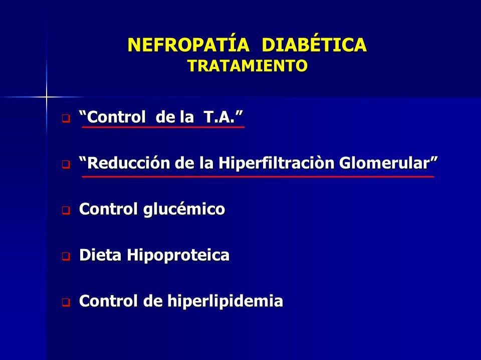 NEFROPATÍA DIABÉTICA TRATAMIENTO NEFROPATÍA DIABÉTICA TRATAMIENTO Control de la T.A. Control de la T.A. Reducción de la Hiperfiltraciòn Glomerular Red