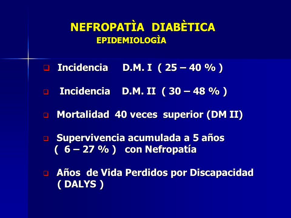 NEFROPATÌA DIABÈTICA EPIDEMIOLOGÌA NEFROPATÌA DIABÈTICA EPIDEMIOLOGÌA Incidencia D.M. I ( 25 – 40 % ) Incidencia D.M. I ( 25 – 40 % ) Incidencia D.M.