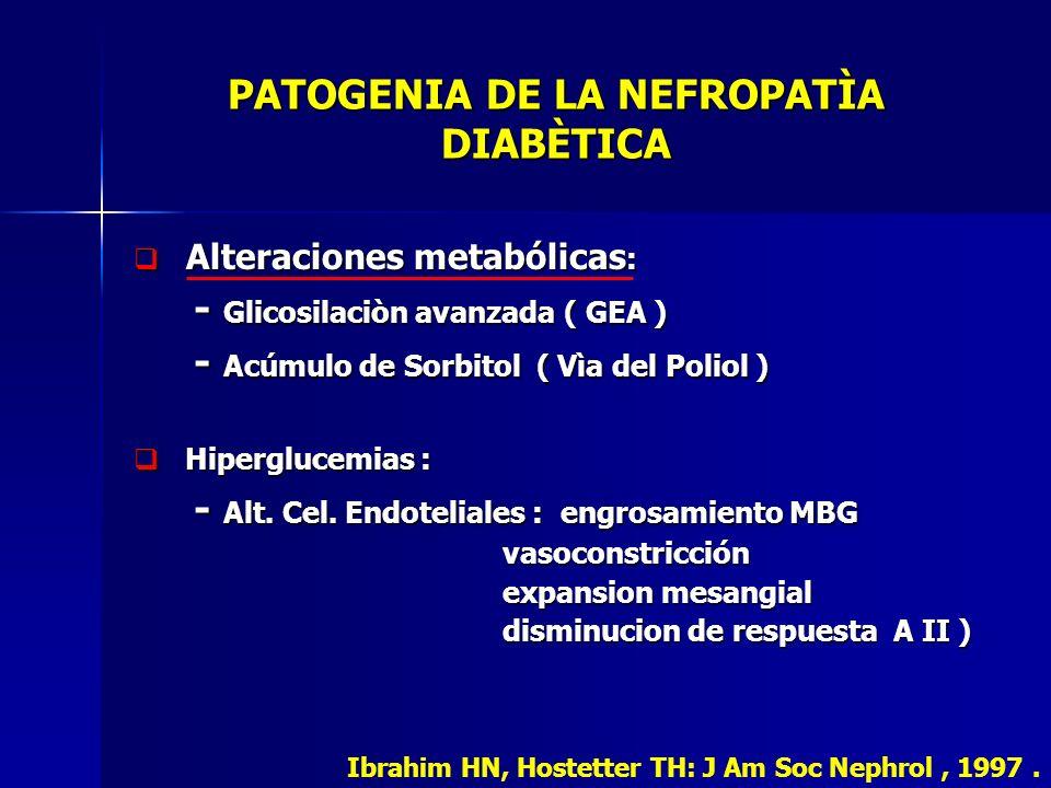 PATOGENIA DE LA NEFROPATÌA DIABÈTICA Alteraciones metabólicas : Alteraciones metabólicas : - Glicosilaciòn avanzada ( GEA ) - Glicosilaciòn avanzada (