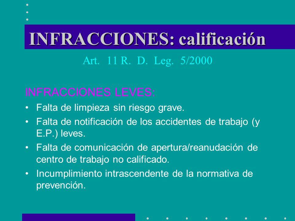 INFRACCIONES: calificación Art. 11 R. D. Leg. 5/2000 INFRACCIONES LEVES: Falta de limpieza sin riesgo grave. Falta de notificación de los accidentes d