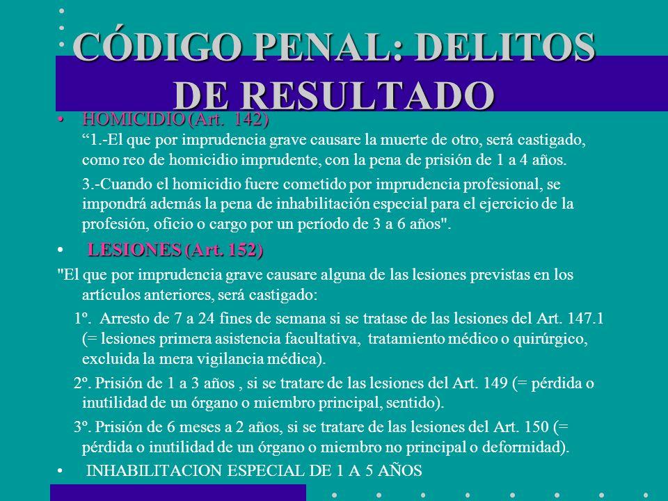 CÓDIGO PENAL: DELITOS DE RESULTADO HOMICIDIO (Art. 142)HOMICIDIO (Art. 142) 1.-El que por imprudencia grave causare la muerte de otro, será castigado,