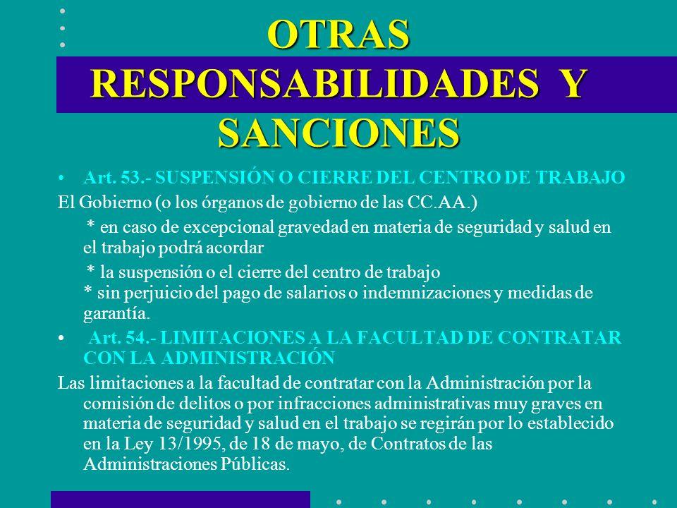OTRAS RESPONSABILIDADES Y SANCIONES Art. 53.- SUSPENSIÓN O CIERRE DEL CENTRO DE TRABAJO El Gobierno (o los órganos de gobierno de las CC.AA.) * en cas