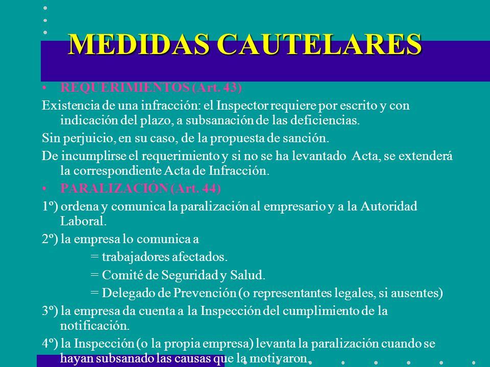 MEDIDAS CAUTELARES REQUERIMIENTOS (Art. 43) Existencia de una infracción: el Inspector requiere por escrito y con indicación del plazo, a subsanación